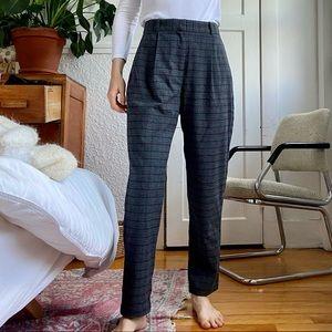 Frank & Oak high waist loose tartan grey trousers